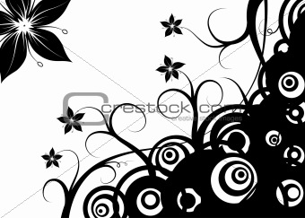 Abstract retro circles & flowers, vector