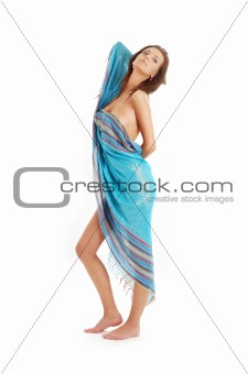 girl with blue sarong