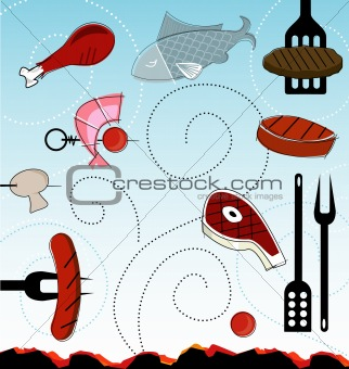 Retro-style Barbeque Icons (vector)