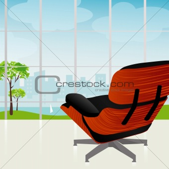 Retro-modern Chair City View (Vector)
