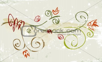 Rustic Grunge Flower )