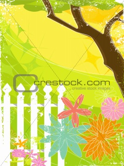 Retro Grunge Flower Garden (vector)