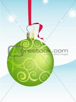 Green Swirly Christmas Ornament