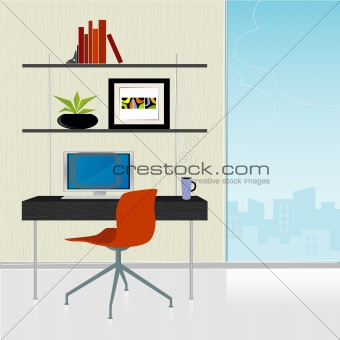 Retro-Modern Home Office (vector)