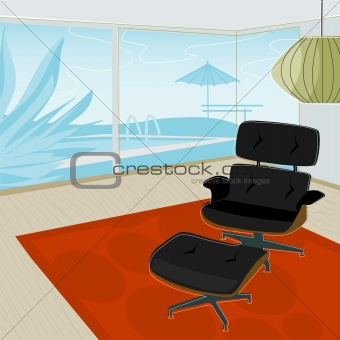 Retro home, View of Pool (Vector)