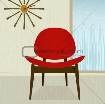 Retro-stylized red chair (Vector)