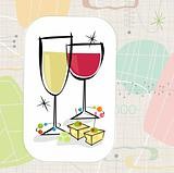 Retro Wine and Cheese (Vector)