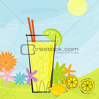 Retro Summer Lemonade (Vector)