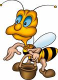 Friendly wasp with basket