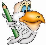 Pelican and crayon