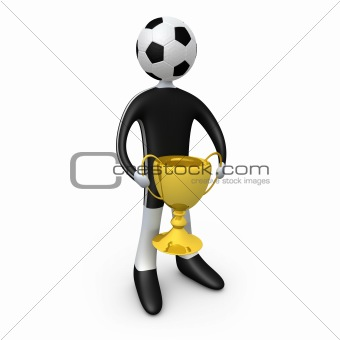 Football player holding the cup
