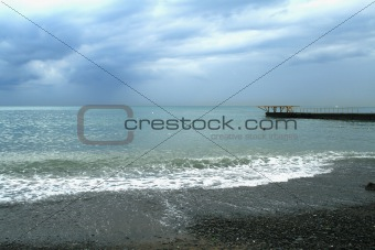 Tropical storm on Black Sea, Sochi, Russia