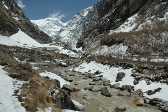 anapurna range in snow