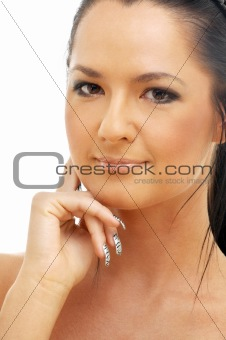 portrait of tanned brunette