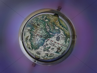 Ancient map globe