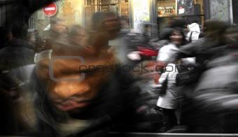 Artistic blur of a crowd running
