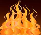 Vector illustration of fire and flames on a black background