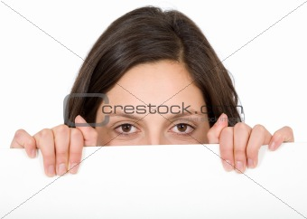 girl appearing over a cardboard