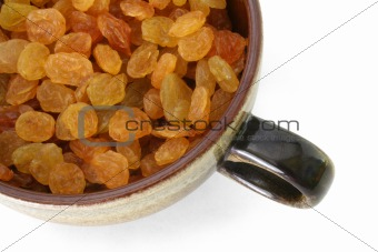 Cup full of raisins