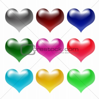 3d colour hearts