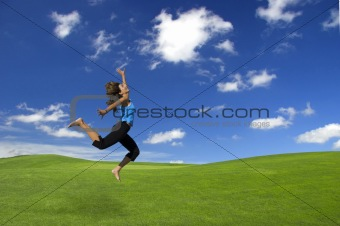 Athletic woman jumping