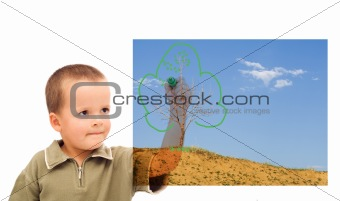 Boy sketching a greener future