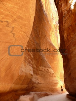 A woman wandering along the Siq in Petra, Jordan