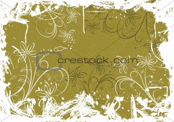 Grunge floral background with blots, vector