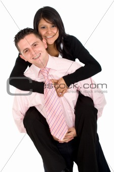 isolated couple - piggyback