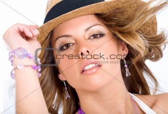 fashion girl wearing a hat