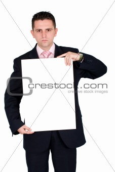 business man holding a cardboard