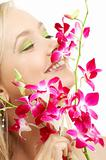 happy blond with orchid