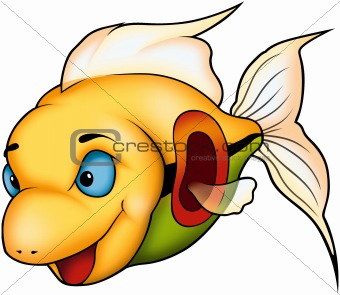 Beautiful yellow coral fish
