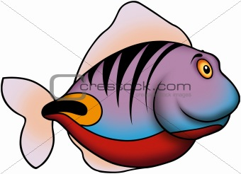 Smiling purple ocean fish