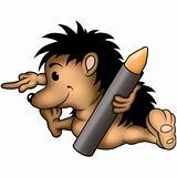 Hedgehog and wax-crayon