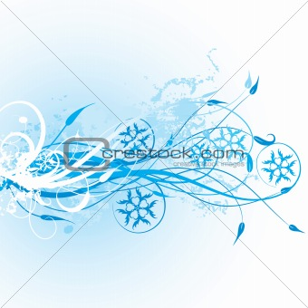 Winter floral background, vector