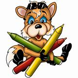 Fox cub with markers