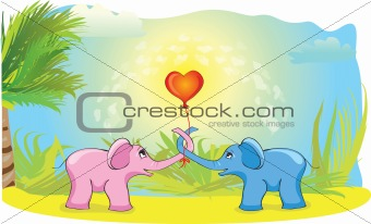 Blue and pink elephant