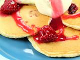 Raspberries On Pancakes
