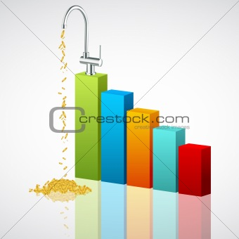 business graph with dollar tap