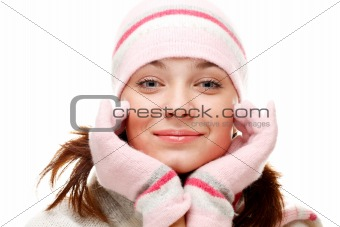 Beautiful woman wearing winter clothes