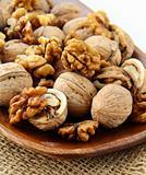 whole and chopped walnuts