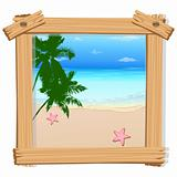 beach view in photo frame