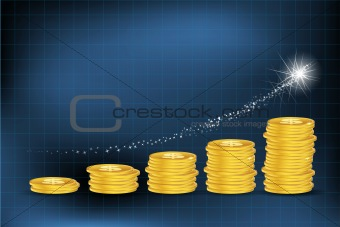 business graph with dollar coins