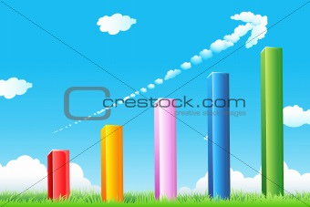 growth graph with cloudy arrow
