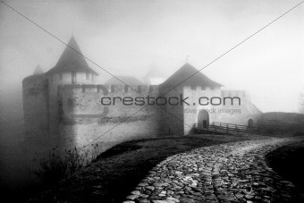 Ancient castle in a fog