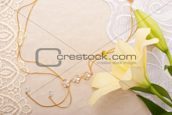 Chain and lily on lace background
