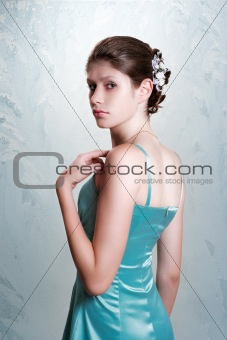 Beautiful girl on cold background