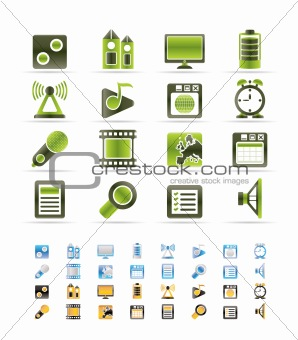 Mobile phone  performance, internet and office icons