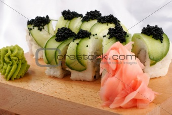 Sushi and black caviar